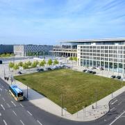 Blick auf die Airportcity am neuen Flughafen Berlin-Brandenburg