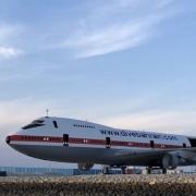 Stillgegelgte Boeing 747 vor der Versenkung im Persischen Golf